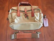 POLO RALPH LAUREN KHAKI CANVAS AND LEATHER PILOT BAG/BRIEFCASE