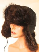 "BROWN REAL FUR MENS HAT / QUILTED LINING EAR FLAPS 23"" LARGE"