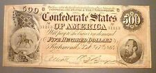 T-64 Popular 1864 $500 Confederate Issue, Stonewall Jackson Uncirculated