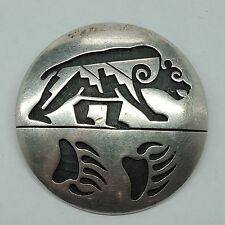 Hopi Sterling Silver Bear and Claw Pendant Brooch Guild Mark