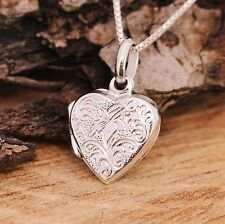 925 Sterling Silver Love Heart Locket Lily Flower Details Pendant Necklace w Box