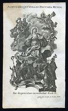 santino incisione1700litanie lauretane AGNUS DEI QUI TOLLIS PECCATA MUN  klauber