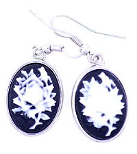 Vintage style black and white resin cameo flower dangle earrings
