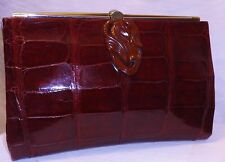 Burgundy Red Crocodile Skin Bakelite Trim 1940's Clutch Grab Bag-Mint Condition