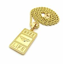 "Men Gold Boss B Life Pendant & 24"" Rope Chain Hip Hop Fashion Necklace $XSP411"