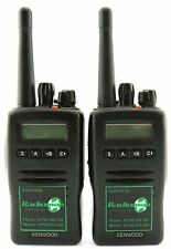 KENWOOD TK3140 UHF 4 WATT WALKIE-TALKIE TWO WAY RADIOS & SECURITY EARPIECES x 2