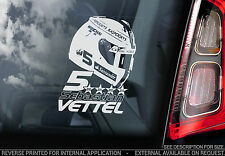 Sebastian Vettel - F1 Car Window Sticker - Ferrari #5 HELMET Formula 1 Sign- V02