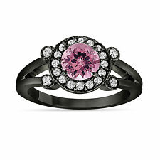 Pink Tourmaline and Diamond Engagement Ring 14k Black Gold Vintage Style 1.12 Ct