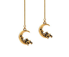 *CKstella* Angel on the Moon 3D Threader 14K Gold Vermeil Ear Thread Earrings