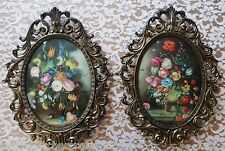 Vintage Set Ornate ITALIAN Brass Framed Floral Pictures Convex Bubble Glass