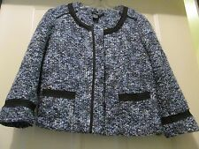 Womens SANDRO Navy Blue & Black Blazer Jacket Crop L Acrylic Lined
