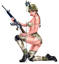 SEXY ART DECAL STICKER PIN UP GIRL - CUTE US ARMY SOLDER FEMALE HOT LEGS SLIM