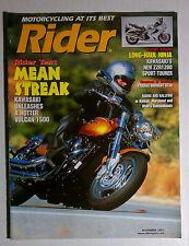RIDER MOTORCYCLE MAGAZINE HARLEY HONDA 2001 NOVEMBER KAWASAKI VULCAN 1500 NINJA