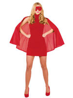 Adult Short Superhero Red Cape & Eye Mask Fancy Dress Man Girl Woman Book Week