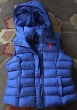 Women's US Polo ASSN. puff Vest with hood Size XL quilted zip Blue Cobalt