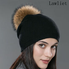Women Winter Warm Cashmere Wool Knitted Real Fur Pom Pom Ball Beanie Hat A392