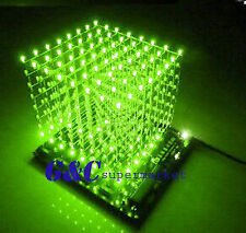 3D LightSquared DIY Kit 8x8x8 3mm LED Cube Green Ray LED M114