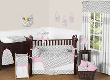 UNIQUE PINK GREY AND WHITE CHEVRON ZIGZAG BABY GIRLS GEOMETRIC CRIB BEDDING SET