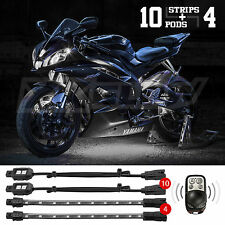14pc Wireless Remote Control Motorcycle Accent Light Kit Breath Strobe - WHITE