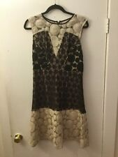 Tracy Reese Tan & Black Dress With A Floral & Circle Pattern Size 8