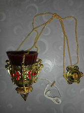 VEILLEUSE D'ICONE/ORTHODOXE/ verre ROUGE/LAMPE HUILE/A SUSPENDRE / NEUVE