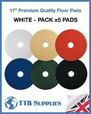 """5x Floor Polisher Cleaning Scrubber Machine Buffing Polishing 17"""" Pads (WHITE)"""