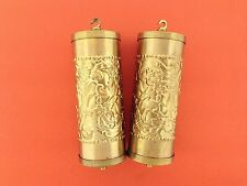 Fancy Embossed Vienna Weight Shells set of 2 Solid Brass