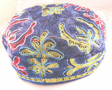 Blue Bucharian Yarmulke Kippah Jewish Kippa Hat Judaica Cap Large Cupples Big