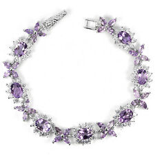 Sterling Silver 925 Natural Amethyst & Lab Created Diamond Bracelet 7 Inches