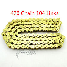 Gold Chain 420x104 Links For XR50 CRF 50/70 SSR Pit Dirt Bike ATV Quad 110 125cc