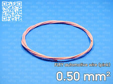 Automotive wire FLRY 0.5mm², pink color, 1 meter length