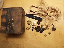 OLD  CIVIL WAR  ERA LOOKING WOOD BOX , WITH ITEMS IN IT