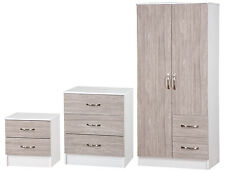 Grey Oak Gloss & Ash White 3 Piece Bedroom Set Furniture Units Double Wardrobe