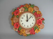 """Vintage Syroco 13"""" Flower Wall Clock Movement Made In Japan"""