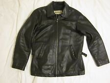 Men's Wilsons M Julian Black Leather Motorcycle Jacket Cafe Racer Vintage Medium