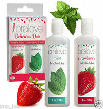 2-Pack Strawberry Mint Flavor Duo Edible Lickable Lube Combo Oral Sex Lubricant