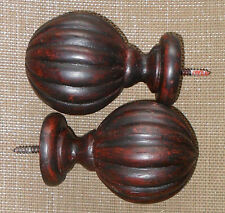 Antiqued MERLOT wood FINIALS curtain ROD & draperies  F197 for 1 3/4 inch rod