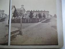 1870's STREET VIEW,SCHOOL,BILLARD SALOON, ?, STEREOVIEW