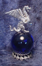 Pewter Dragon on Cobalt Blue Crystal Ball - Crystal Accents