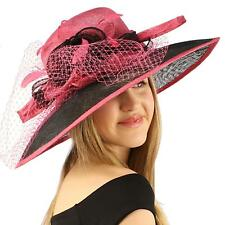 "Kentucky Derby Wide 5-1/2"" Brim Layers Floppy Feathers Net Floral Hat Blk Pink"