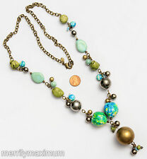 Chico's Signed Necklace Long Gold Tone Chain Chunky Turquoise Green Yellow Beads