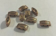 20 RED COPPER FINISH METAL 2-HOLE SPACER BEADS-9mm-UK Seller