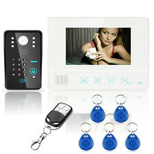 "7"" Wired RFID Video Door Phone Doorbell Intercom System Monitor Camera Remote"