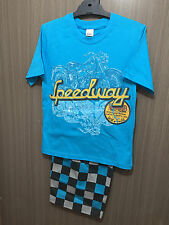BNWT Boys Sz 16 Aqua/Check Speedway Soft Stretch Knit Short Summer PJ Pyjamas