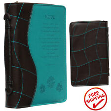 Turquoise Hope Bible Book Cover Engraved Zipper Faux Leather Church Travel Case