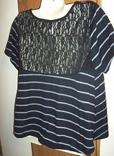 M top SHEER lace shirt back top BLACK striped scoop t 7 9 T shirt casual