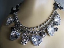 BETSEY JOHNSON ICONIC CRYSTAL HEARTS & BOWS CHARM STATEMENT NECKLACE~RARE