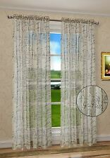 """French Script Faux Linen Sheers Window Curtains Panels Taupe Color 50"""" X 63"""""""