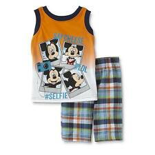 NWT Disney Mickey Mouse Boy's Outfit Set 2T Tank Top Shorts Plaid Selfie
