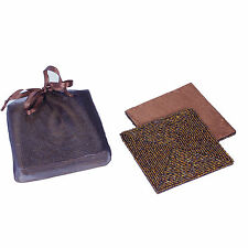 6 COPPER BROWN SQUARE BEADED SATIN-BACKED COASTERS, IN FABRIC GIFT BAG